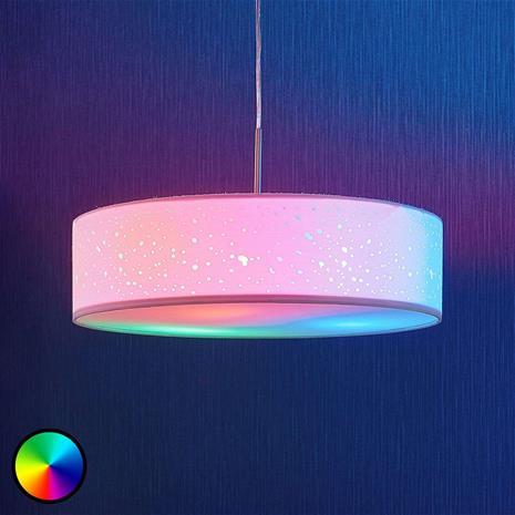 Lampenwelt.com LED-RGB-riippuvalaisin Alwine, pistekuvio, pyöreä