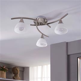 Lindby Della - 3-lampp. LED-kattovalaisin, matta nikkeli