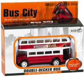 Double Decker Bus Vehicle Die-Cast 8cm Pullback Red