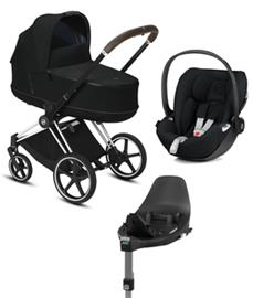 Cybex Priam starttipaketti Chrome Brown Deep Black + Cloud Z ja jalusta