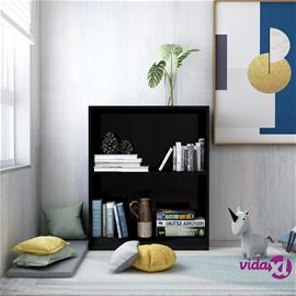 vidaXL Kirjahylly korkeakiilto musta 60x24x74,5 cm lastulevy