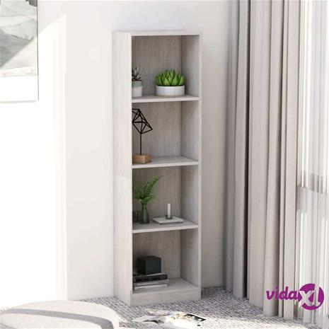 vidaXL 4-tasoinen kirjahylly betoninharmaa 40x24x142 cm lastulevy