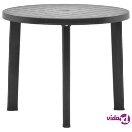 vidaXL Puutarhapöytä antrasiitti 89 cm muovi