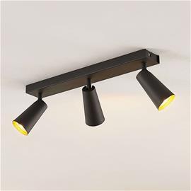 Lucande Lucande Angelina -kattovalo, musta-kulta, 3-lamp.