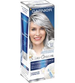Garnier Nutrisse Silver Crème Pearly Grey Helmenharmaa sävyte harmaille hiuksille