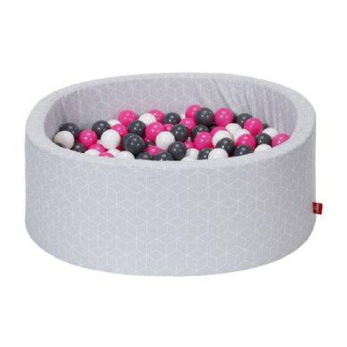 knorr® toys pallokylpy pehmeä - Geo-kuutio harmaa, mukaan lukien 300 palloa kerma / harmaa / ruusu