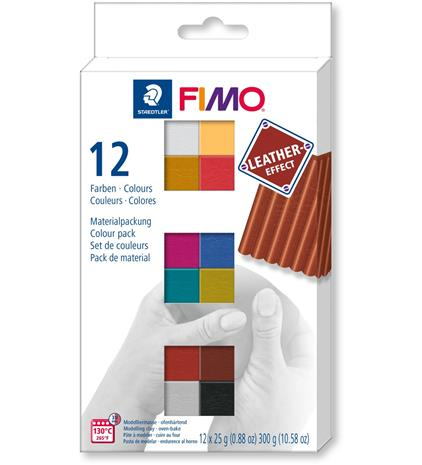 Staedtler Fimo 12x25g leather effect askartelumassa