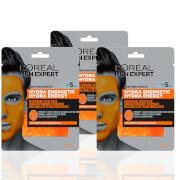 L'Oréal Paris Men Expert Hydra Energetic Re-Charge Face Mask x3