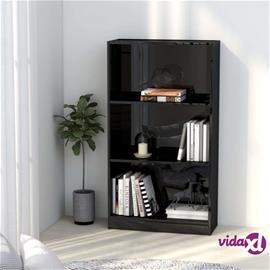 vidaXL 3-tasoinen kirjahylly korkeakiilto musta 60x24x108 cm lastulevy