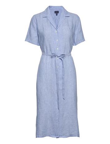 Gant D2. Linen Chambray Ss Shirt Dress Polvipituinen Mekko Sininen Gant PACIFIC BLUE