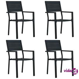 vidaXL Puutarhatuolit 4 kpl musta HDPE puun näköinen