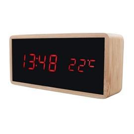 Digitaalinen herätyskello puu-designilla - Punainen