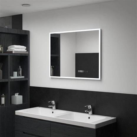 vidaXL Kylpyhuoneen LED peili kosketussensorilla ja kellolla 80x60 cm