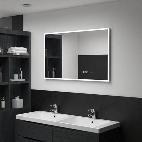 vidaXL badeværelsesspejl LED m touch og tidsdisplay 100x60 cm