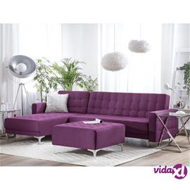 Beliani Kulmasohva ja rahi kankainen violetti ABERDEEN