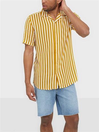 Only & Sons Onswayne Ss Striped Viscose Shirt Kauluspaidat Tumma oranssi