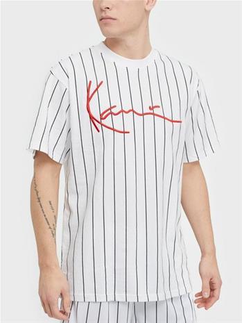 Karl Kani KK Signature Pinstripe Tee T-paidat ja topit Valkoinen/musta
