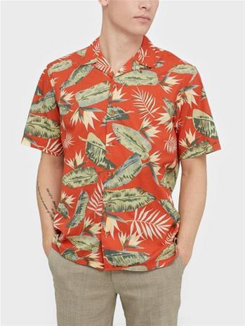 Jack & Jones Jortropical Shirt Ss Kauluspaidat Punainen