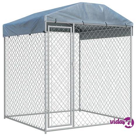 vidaXL Koiran ulkohäkki suojakatoksella 2x2x2,1 m