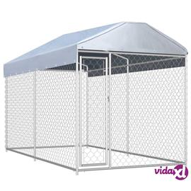 vidaXL Koiran ulkohäkki suojakatoksella 382x192x235 cm