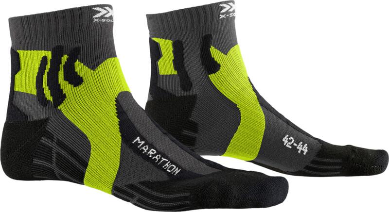 X-Socks Marathon Sukat, charcoal/phyton yellow/black, Miesten housut ja muut alaosat