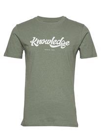 Knowledge Cotton Apparel Alder Big Knowledge Tee - Gots/Vega T-shirts Short-sleeved Vihreä Knowledge Cotton Apparel GREN MELANGE