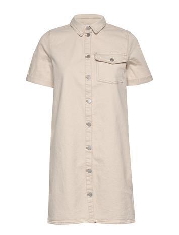 Vila Viglove S/S Denim Dress C10/Su Polvipituinen Mekko Valkoinen Vila WHISPER WHITE