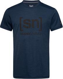 super.natural Essential I.D. T-paita Miehet, blue iris melange/jet black logo