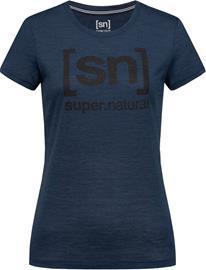 super.natural Essential I.D. T-paita Naiset, blue iris melange/jet black logo