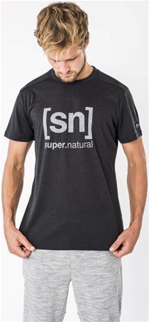 super.natural Essential I.D. T-paita Miehet, jet black melange/vapor grey logo