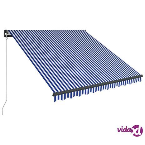 vidaXL Sisäänkelattava markiisi LEDillä 300x250cm sininen ja valkoinen