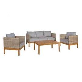 Puutarharyhmä CAPTAIN pöytä, sohva ja 2 nojatuolia, alurunko polyrottingilla, harmaa/vaaleanruskea