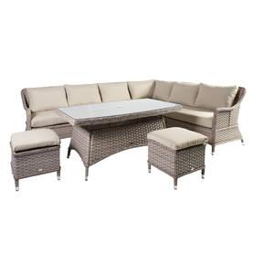 Puutarharyhmä EDEN pöytä, sohva ja 2 rahia, alurunko polyrottingilla, beige