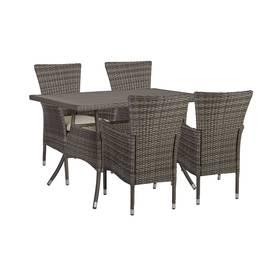 Ruokailuryhmä puutarhaan PALOMA pöytä ja 4 tuolia polyrottinki, pöytälevy puujäljitelmä muovia, rusk