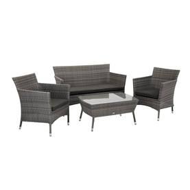 Puutarharyhmä WATERS pöytä, sohva ja 2 tuolia, teräsrunko polyrottingilla, harmaa