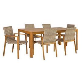 Ruokailuryhmä CAPTAIN puutarhaan, pöytä + 6 tuolia, alurunko pöytälevy puujäljitelmää, tiikki