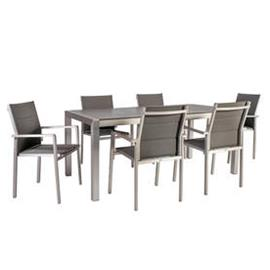 Ruokailuryhmä CEDRIC puutarhaan, pöytä + 6 tuolia, alurunko tekstiiliverhoilulla, harmaa
