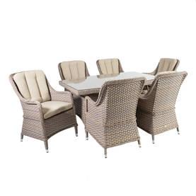 Ruokailuryhmä EDEN puutarhaan, pöytä + 6 tuolia, alurunko polyrottingilla, beige
