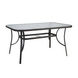 Puutarhapöytä DUBLIN 150x90xK70cm, teräsrunko, pöytälevy lasia, tummanruskea