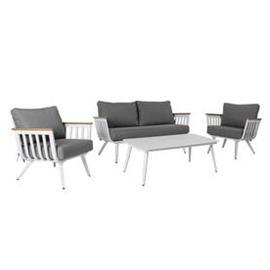 Sohvaryhmä HARVEST puutarhaan, pöytä, sohva + 2 tuolia, alurunko olefin-verhoilulla, harmaa/valkoine