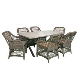 Ruokailuryhmä LAURINO puutarhaan, pöytä + 6 tuolia, alurunko polyrottingilla, harmaa/ruskea