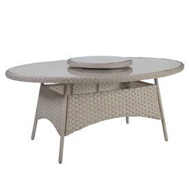 Puutarhapöytä PACIFIC 180x120xK74cm, alurunko polyrottingilla, pöytälevy lasia, harmaa/beige
