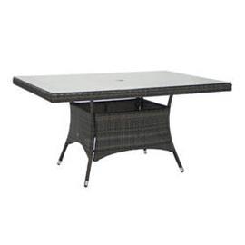 Puutarhapöytä WICKER 150x100xK74cm, alurunko polyrottingilla, pöytälevy lasia, tummanruskea