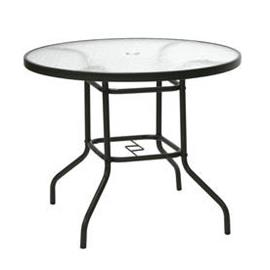 Puutarhapöytä DUBLIN pyöreä 80cm, teräsrunko, pöytälevy lasia, tummanruskea