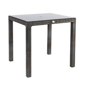 Puutarhapöytä WICKER 73x73xK71cm, alurunko polyrottingilla, pöytälevy lasia, tummanruskea