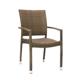Puutarhatuoli WICKER käsinojilla, alurunko polyrottingilla, cappuccino