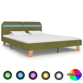 vidaXL Sängynrunko LED-valolla vihreä kangas 180x200 cm