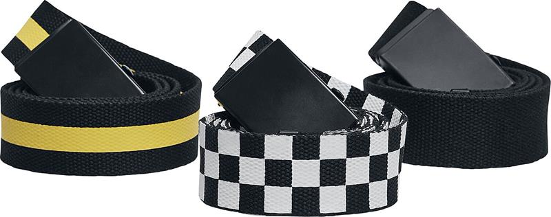 Urban Classics - Belts Trio 3-Pack - Vyö - Unisex - Musta valkoinen keltainen