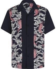 Chet Rock - Japanese Koi Shirt - Lyhythihainen kauluspaita - Miehet - Sininen