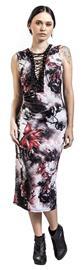 Jawbreaker - Dark Passions Floral Tie Up Dress - Pitkä mekko - Naiset - Musta